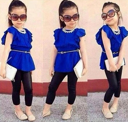 2015 new arrive Summer children girls Blue dress+black Copy Leather pants Legging 2pcs set Kids clothing set CLOTHES SUITS(China (Mainland))