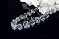 Full Oval zircon round bracelet & bangle link zirconia bridal wedding jewelry for women