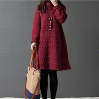 2014 plus size clothing thickening medium-long cotton-padded basic loose long-sleeve dress