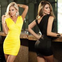 2015 elegant ladies party club mini dress summer sexy women sleeveless deep v wrap casual dress