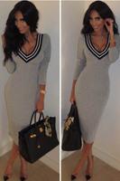 women's knitted gray long-sleeve sheath v-neck long dress mid-calf bodycon S M L27740