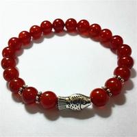 Hot Sale Fashion Red Agate Round Beads Bracelet Bracelets For Women Charm Red Onyx Bracelet Jewelry