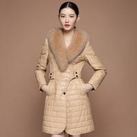 free shipping EMS  sheepskin fox fur genuine leather clothing women's medium-long down coat fur