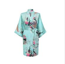 Горячая распродажа голубой китайский женские атласные халат печатных цветочные и павлин ванна платье классический юката ночная рубашка размер S , чтобы XXXL WR012