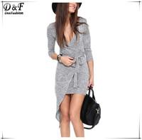 Newest 2015 Femme Fashion Desigual Slim Street Bodycon Dresses Women Vestido Festa Grey Long Sleeve V Neck Asymmetric Dress