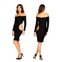 new fashion hot sexy party club wear dresses 2015 off the shoulder hollow out slash neck women bodycon dress