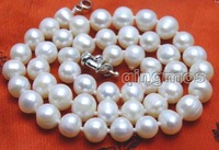 "SALE Big 8-9MM White Natural Freshwater PEARL 17"" NECKLACE -nec5839 Free shipping  Wholesale/retail"