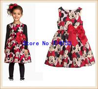 Retail New 2014 Kids girls dresses, cute cartoon knee-length Dress, nice Clothes, baby girls clothing dress