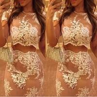 2014 New Fashion Strap Flower mesh Lace 2 Two Piece Lace Dress White Sexy Bodybon Dress club Party Dress