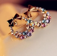 Free shipping New Fashion Imitation Diamond Colorful Rhinestone Bow Earrings  Vintage Jewelry 10pcs promotion discount hot sale