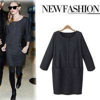 Women Dress 2015 Vestidos Brief Pockets Solid Casual Ladies Dress Slim O Neck Three Quarter Sleeve Vintage Brand Party Dresses