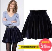 S M L 2015 Star Show Women Fashion Velvet Pleated Ball Gown Short Skirt Students Preppy Party Club Empire Mini Skirt 3357