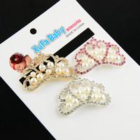 Free shipping 20pcs/ lot 3 colors  Pearl Rhinestones Princess Crown  DIY Hair Flower Baby Girls HeadbandsDecoration Accessory