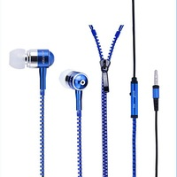 100 pcs High Quality Stereo Bass Headset Ear Metal Zipper Earphones Headphones with Mic 3.5mm Earbuds for iPhone Samsung
