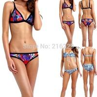 2015 New Womens Shoulder Strap Bandage Bikini Set Neoprene Swimsuit Strappy Swimwear Bathing Suit Retro Triangle Beachwear