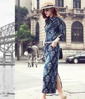 Autumn female vintage jacquard print denim full dress half sleeve one-piece dress slim women's basic dress