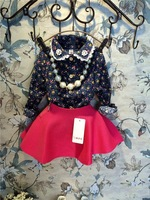 EMS DHL Free Shipping Toddler Girls Chilren Flower outfit Children Clothing 2pc Casual Set  Flower Blouse + Red Skirt