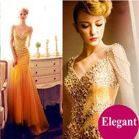 New Elegant luxury V-neck diamond slim long mermaid bandge evening dress winter spring autumn women party dresses anchor gown