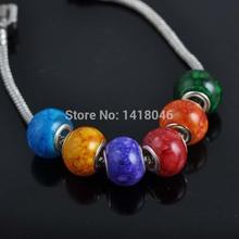 30pcs/lot Mixed Stripe Flat Round Beads Glass Big Hole Beads Fit Pandora bracelet  PD010