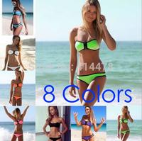 2015 new Neon Zipper Bikini Neoprene Swimwear Women Neoprene Swimsuit Bikini good Quality Free Shipping