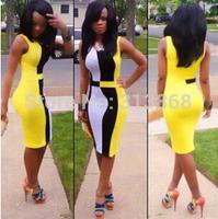 2015 New Arrival Natural Broadcloth Knee-length Sheath V-neck Natural Color Sleeveless None Regular Patchwork Cute Dresses
