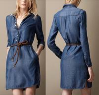 spring and summer slim waist slim water wash long-sleeve denim one-piece dress