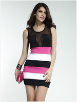 2015 Summer New Sexy Women Dresses Fashion Striped Cute Ladies Dress  HM143