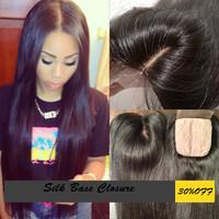 Virgin Malaysian Silk Base Closure Straight 4x4 100% Human Hair No Shedding No Tangle With Shipping Free 8-24 inch 130% Density