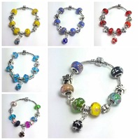 free shipping wholesale 6design  Murano Glass&Crystal European Charm Beads Fits Pandora Style Bracelets women's gifts