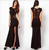 Black & Red Evening Dress Sexy Back Design Formal Gown with High Side Split 2015 Hot Vestido De Festa Prom Dress
