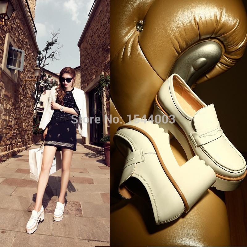 Genuine Leather Women Shoes High Heel Women Platform Pumps Round Toe Woman Platform Shoes Sexy Fashion Sapato Alto Feminino(China (Mainland))