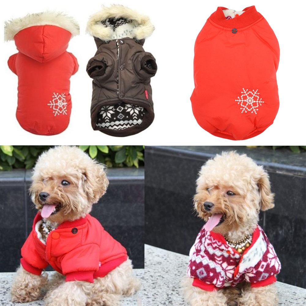 Gota & grátis frete inverno quente pequeno Dog Pet roupas grossas jaquetas vestuário Outerwear do floco de neve casaco com capuz venda(China (Mainland))