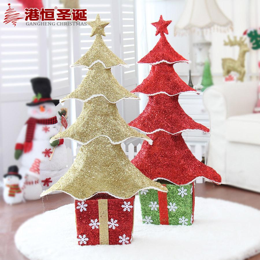 Hong Kong Hang Christmas 100x55cm Iron glitter snowflake Christmas tree twine 900g gift box decorated Christmas tree(China (Mainland))