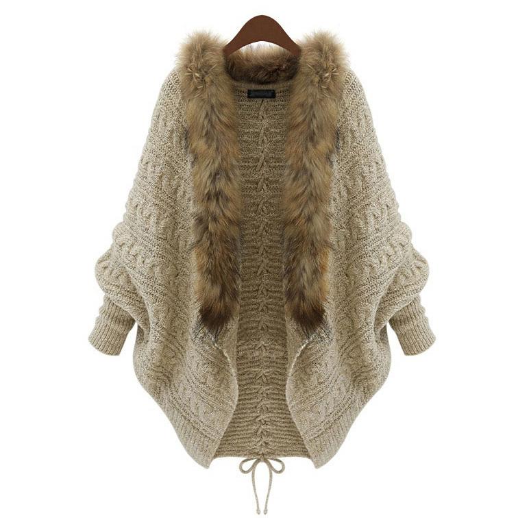 automne et en hiver des vêtements en tricot cardigan bat nouvelles femmes pull col châle cape manteau de fourrure européens et américains