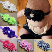 Free Shipping 8Pcs/Lot 2015 Baby Headbands infant shabby flower rhinestone hairbands photography hair accessories headwear