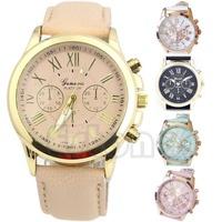 Free Shipping Women Geneva Roman Numerals Analog Faux Leather Chic Stylish Quartz Wrist Watch