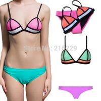 2015 Sex Bikini Set Mesh Neon Color Women Triangle Swimsuit Brazilian Biquini Diving Suit Swimwear Bathing Suits S M L
