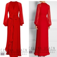 6XL Plus Size 2015 Spring European and American Style long Sleeve  Long Maxi Women Party Vintage Elenagt Dress