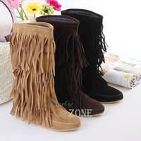 Tassel Boots 2015 Fashion Winter Snow Boots Warm Women Boots Layer Fringe Flat Heel Decoration Winter Shoes 4 Sizes sv18 9155
