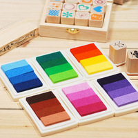 Free Shipping 6 Gradient Colors Inkpad Stamp Pad Inks Concave Waist Seal Inkpad for Paper Wedding Sign Painting Scrapbooking