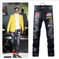 Hot Sale European American men's dsq Slim Straight jeans child personalized embroidery catwalk d2 Mens Pants