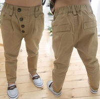 Retail 1PC New 2015 Autumn Children Pants Kids Boys 4 Buttons Casual Long Pants Harem Trousers WW01100652J
