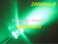 Free Shipping 1000pcs 5mm Ultra Bright Green LED 5mm water clear round green led 20000mcd 5mm green led