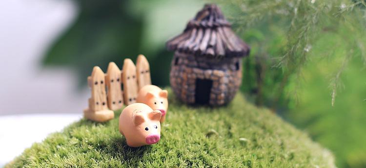 3 pcs/set pig et clôture 4.5 cm miniatures pig jardin féerique gnome mousse terrarium décoration artisanat bonsaï décoration pour bricolage(China (Mainland))