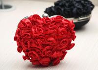2015 Luxury 3D Flower Heart Shape Evening Bag Day Clutch Women Messenger Bag Party Wedding Dinner Handbag Sweet Heart Makeup Bag