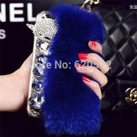Rabbit hair fox head rhinestone mobile phone cover for iphone6 4.7inch