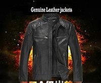 leather jacket man genuine sheepskin male pro-biker winter coat outerwear outdoors motorcycle jackets Genuine Leather black