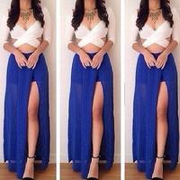 Women sexy cube bandage cross top + chiffon long Split open long skirt evening white tops blue short skirts