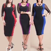 4xl plus size 2015 hot sexy work wear party club Vestidos femininos elegant women formal bandage bodycon patchwork dresses