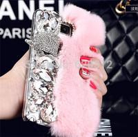 Rabbit hair fox head rhinestone mobile phone cover for Samsung Galaxy S4 i9500